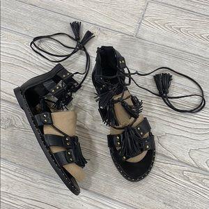 Project Black Studded Tassel Gladiator Sandals - 7